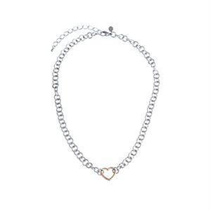 """Picture of Rose Gold Heart with Silver chain 18"""""""